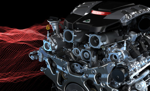 Il motore dell'Alfa Romeo Giulia Quadrifoglio Verde