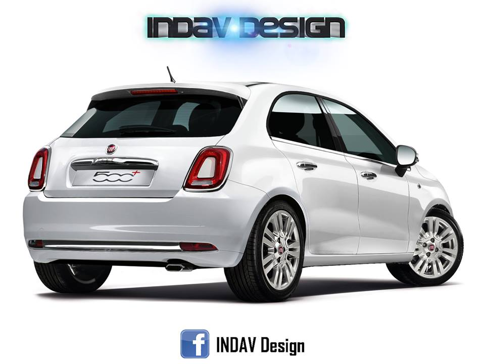 fiat 500 5 porte nuovo rendering della futura city car di segmento b. Black Bedroom Furniture Sets. Home Design Ideas