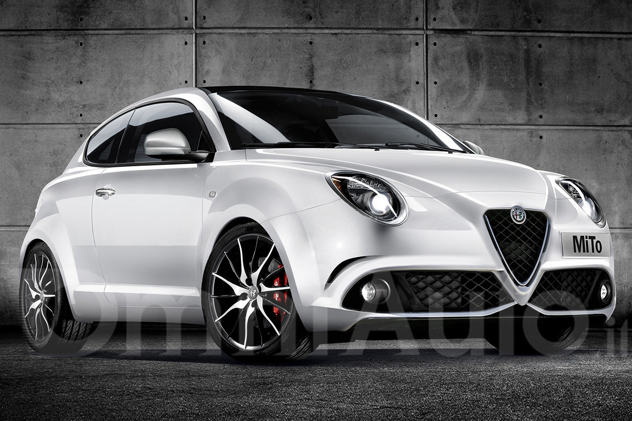 alfa romeo mito nuovo rendering del restyling in arrivo nel 2016. Black Bedroom Furniture Sets. Home Design Ideas