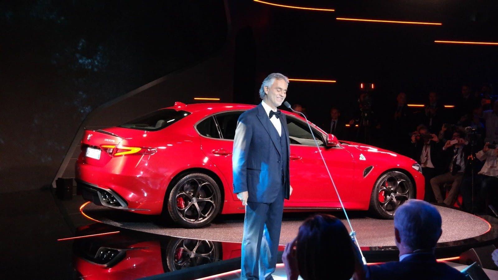 Alfa Romeo Giulia e Andrea Bocelli