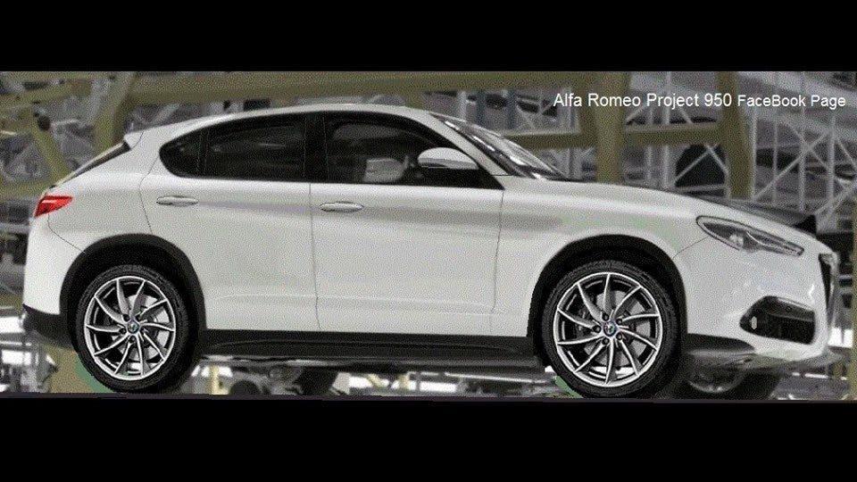 Alfa Romeo Stelvio: un rendering apparso sulla pagina Facebook 'Alfa Romeo project 950' mostra quello che potrebbe essere l'aspetto definitivo del nuovo Suv.