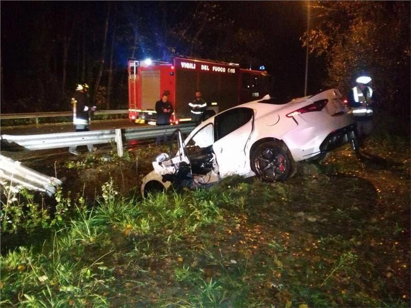 Alfa Romeo Giulia: un esemplare si schianta a Cassino durante un test