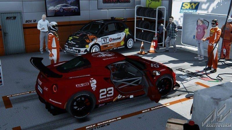 alfa romeo 4c competizione rossa circuito pit stop