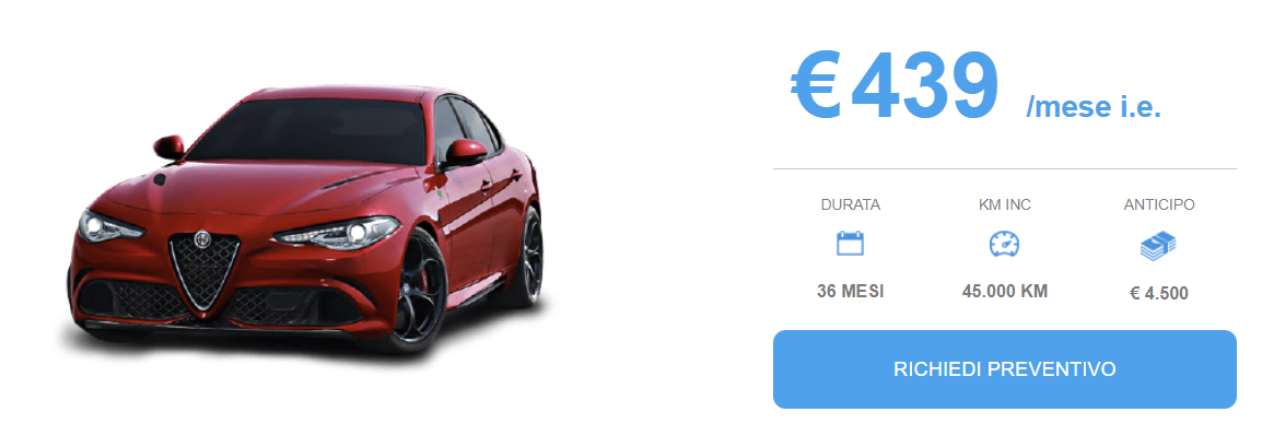 Alfa Giulia offerta Noleggio Marzo 2018