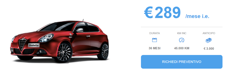 Alfa Giulietta offerta Noleggio Marzo 2018