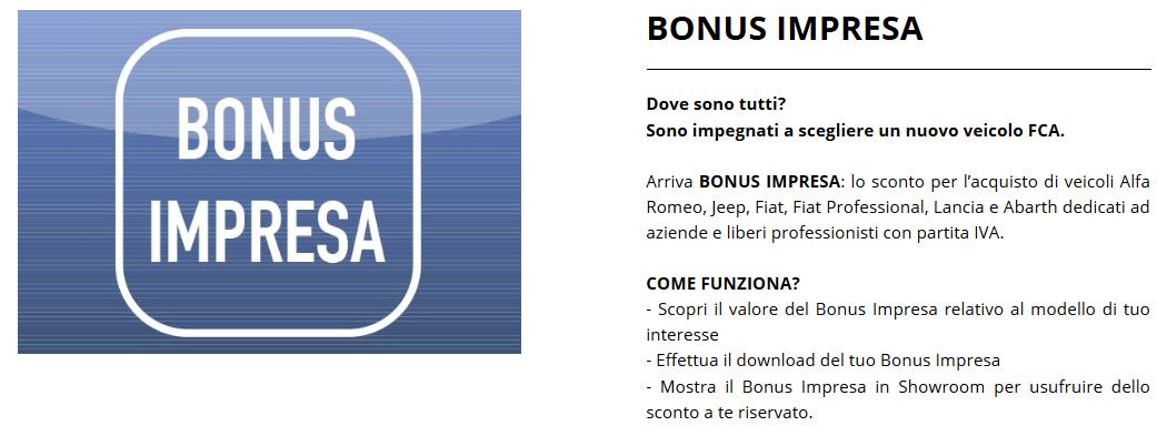 Bonus Impresa FCA gennaio