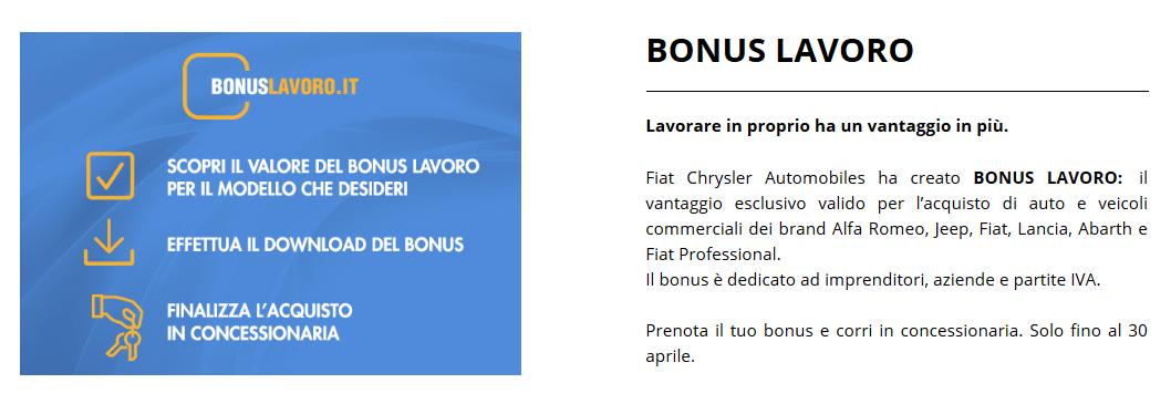 FCA Bonus Lavoro aprile