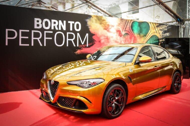 Alfa Romeo Giulia Quadrifoglio: eccola dal vivo con la livrea ocra
