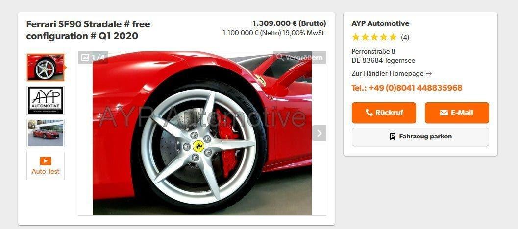 Ferrari SF90 Stradale sito vendita