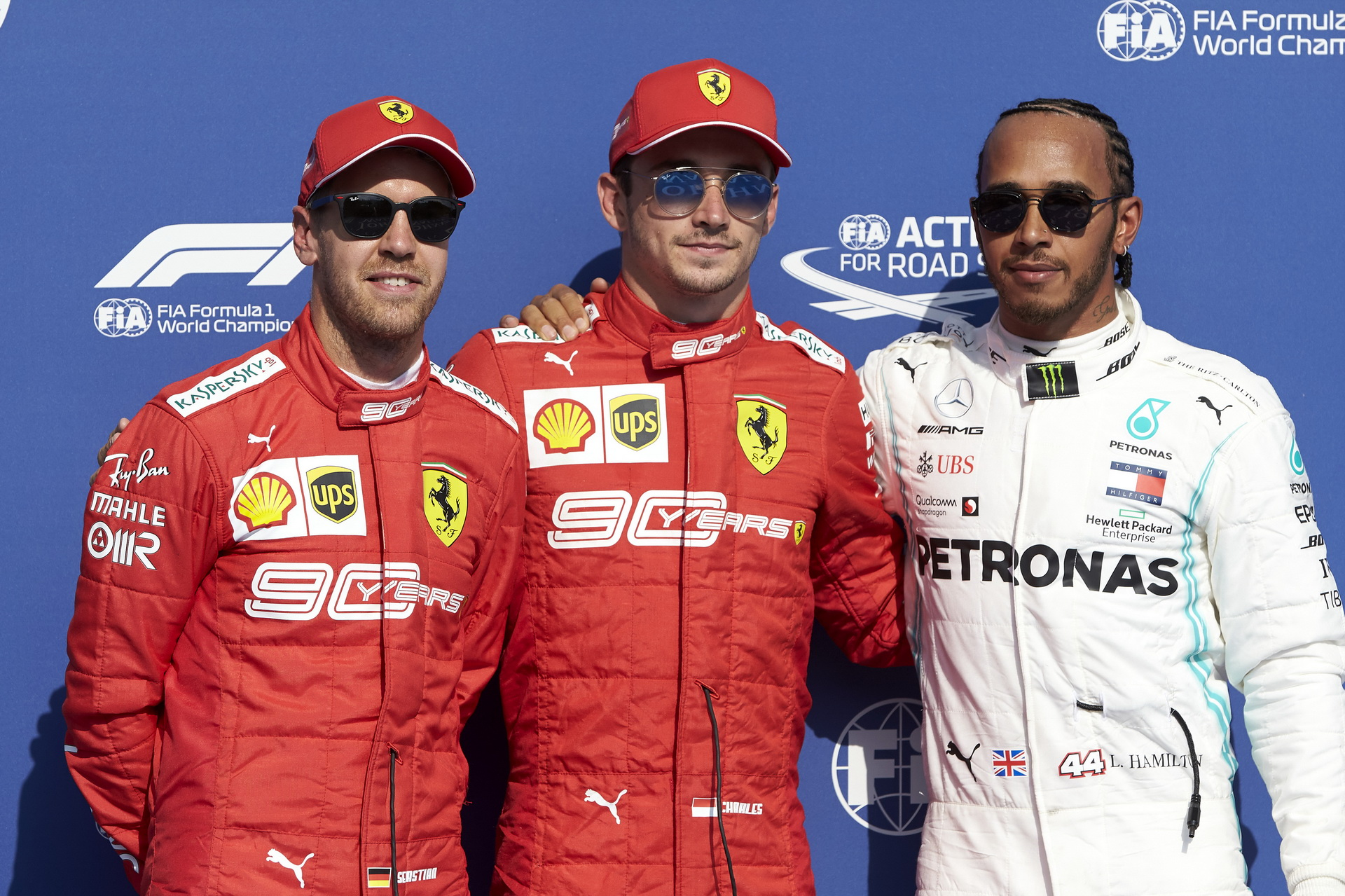 Charles Leclerc Sebastian Vettel Lewis Hamilton