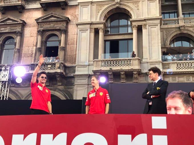 Charles Leclerc, Sebastian Vettel e Mattia Binotto