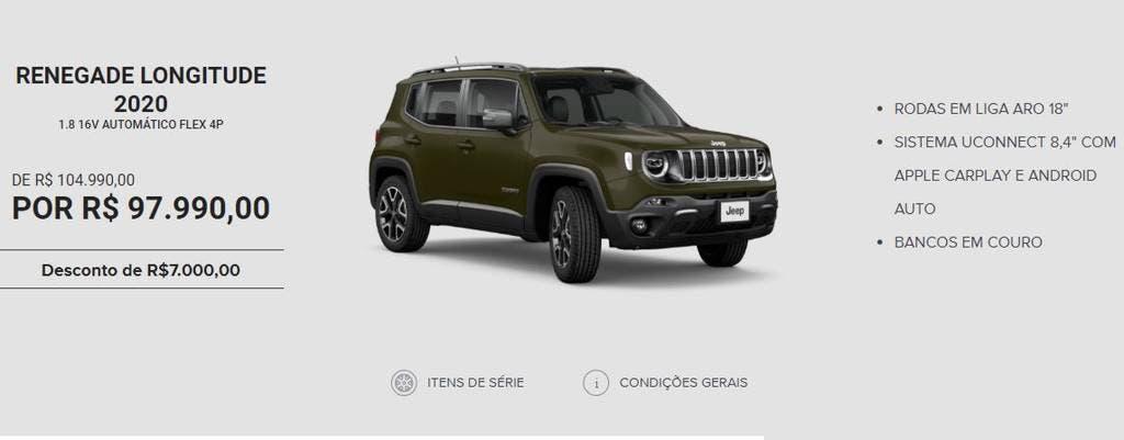 Jeep Renegade offerta Brasile ottobre