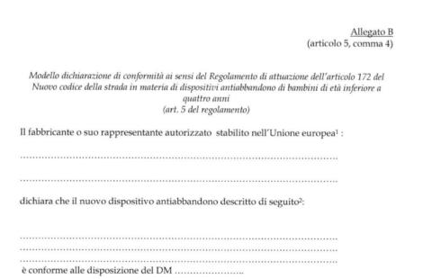 dichiarazione di conformità del seggiolino