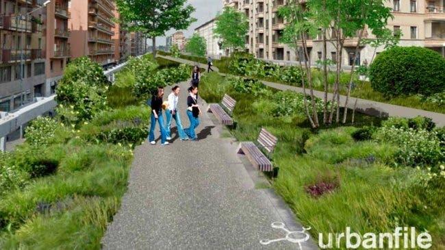 Giardino sopra Cavalcavia Monteceneri Milano Progetto riqualifica