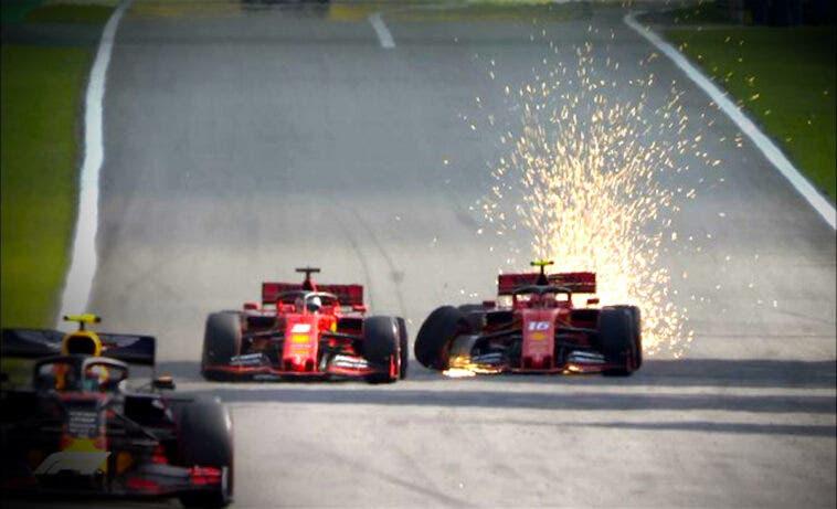 Incidente Ferrari Lec Lerc Vettel