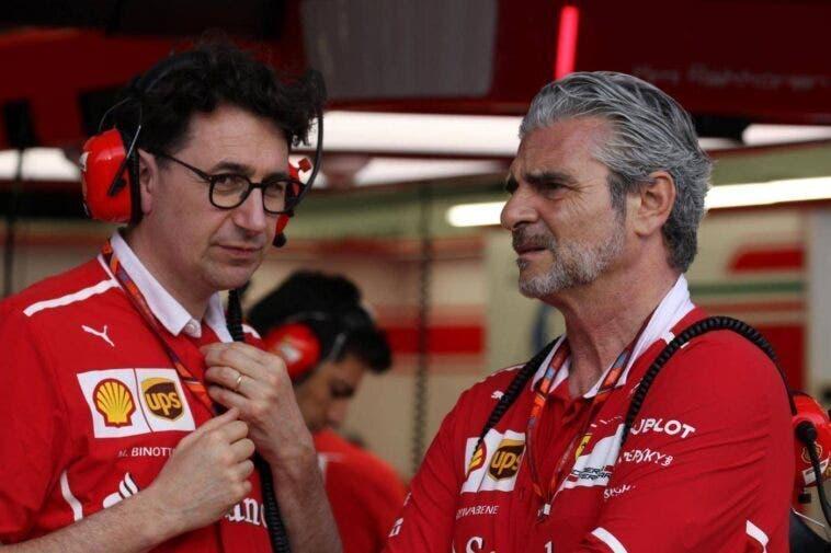 Mattia Binotto e Maurizio Arrivabene