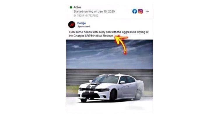 Dodge Charger SRT Hellcat Redeye annuncio Facebook