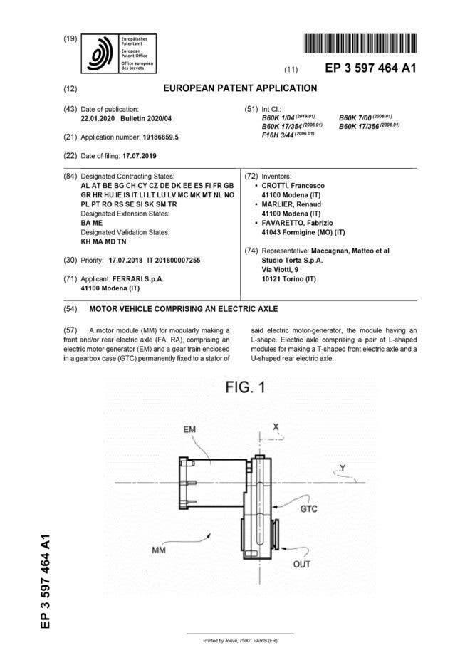 Ferrari nuovo brevetto auto elettrica
