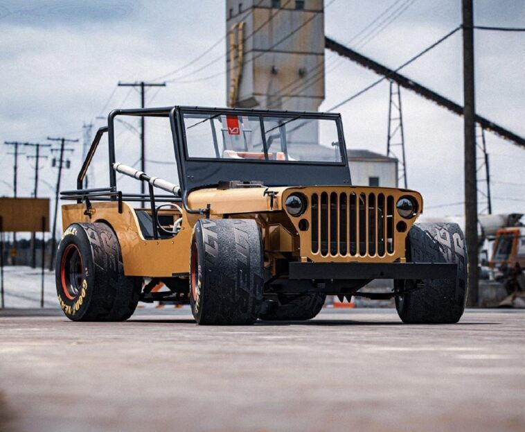 Jeep Willys drag race render