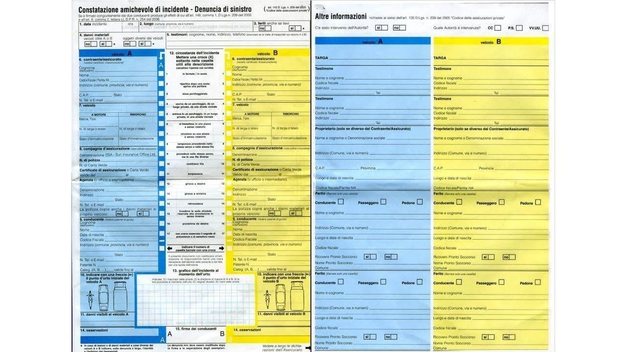 Modulo Blu Compilazione Incidente Auto CID