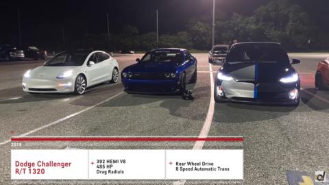 Dodge Challenger R/T Scat Pack 1320 vs Tesla Model 3 Performance vs Model X Performance DragTimes