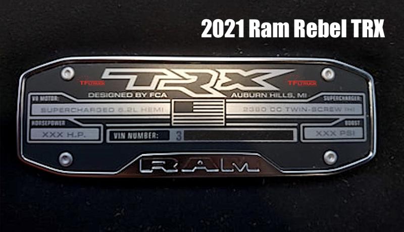 Ram Rebel TRX 2021 targhetta