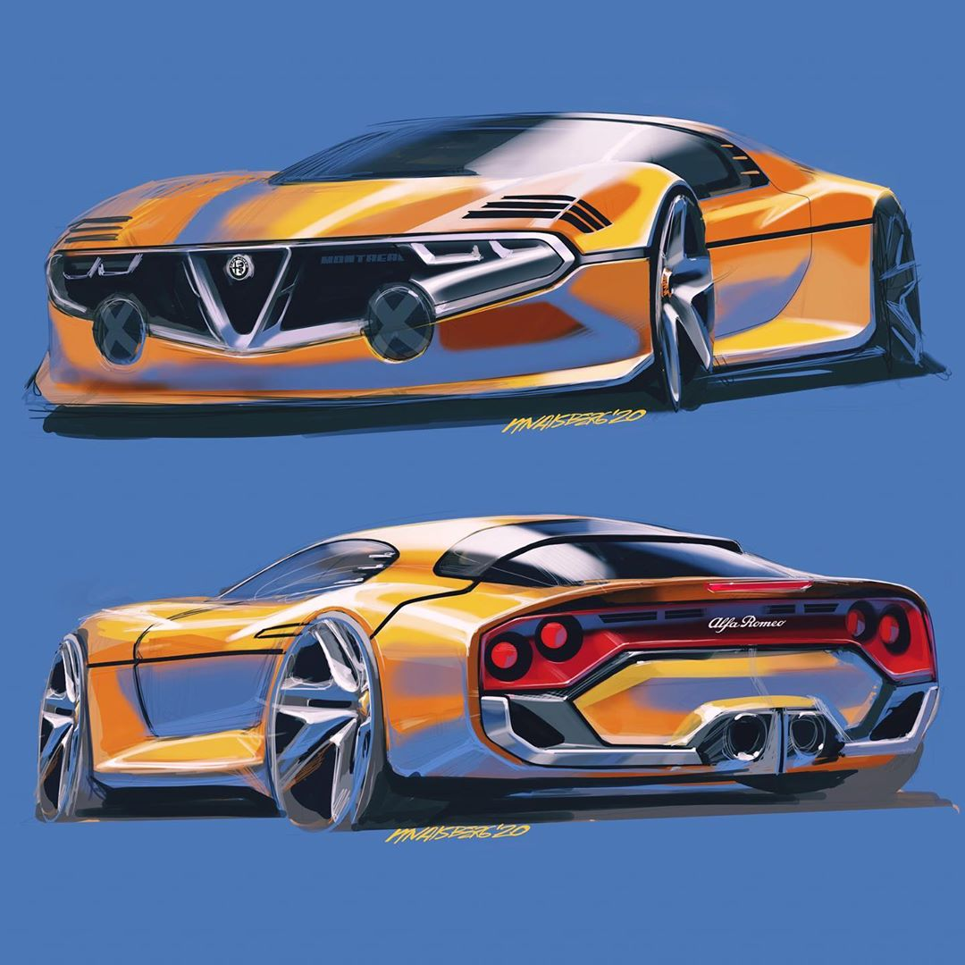 Alfa Romeo Montreal moderna bozzetto