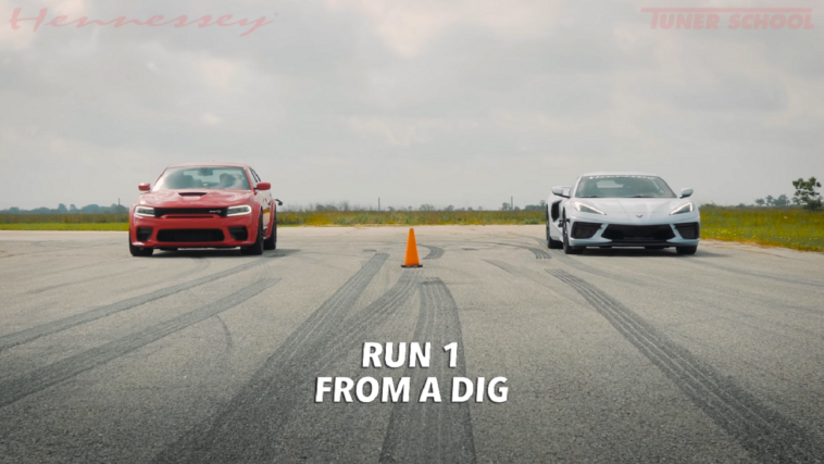 Dodge Charger SRT Hellcat Widebody vs Corvette C8 Hennessey