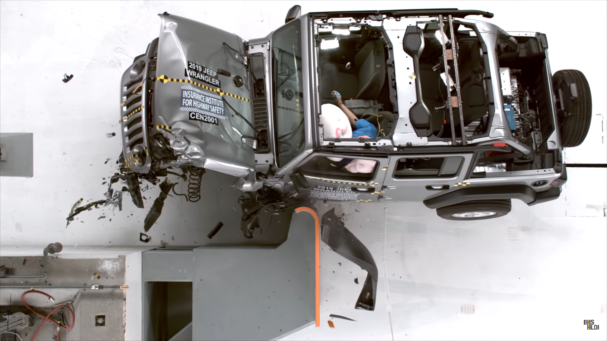 Jeep Wrangler crash test IIHS