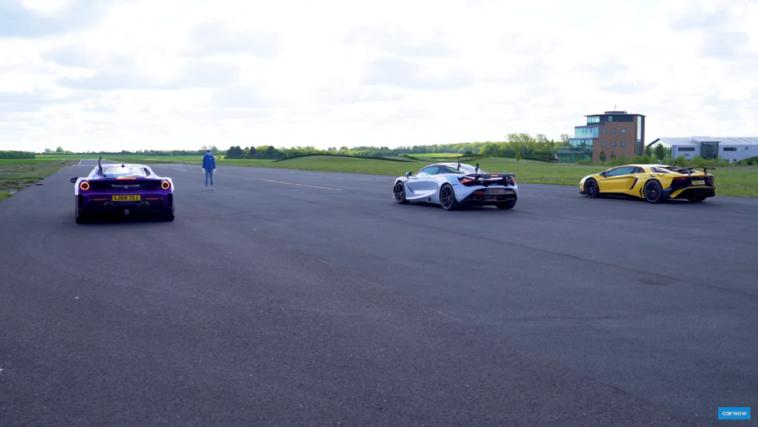 Ferrari 488 Pista vs McLaren 720S vs Lamborghini Aventador SV Carwow