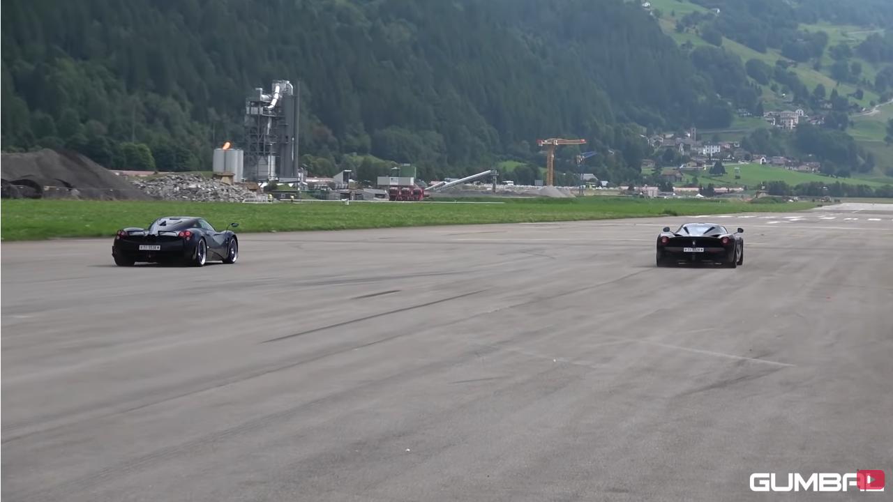 LaFerrari vs Pagani Huayra Futura drag race