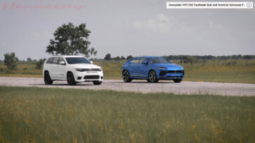 Jeep Grand Cherokee Trackhawk vs Lamborghini Urus drag race