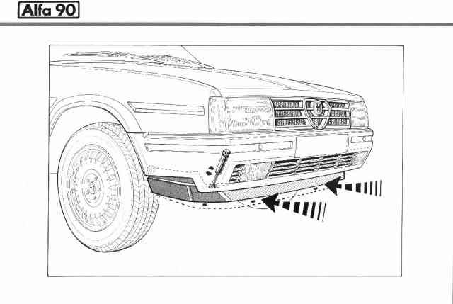Alfa 90 Lo spoilor anteriore