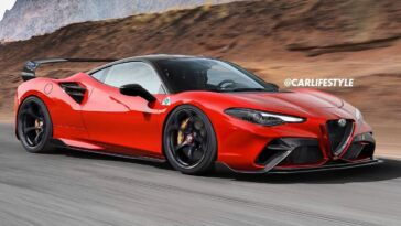Alfa Romeo supercar motore centrale render