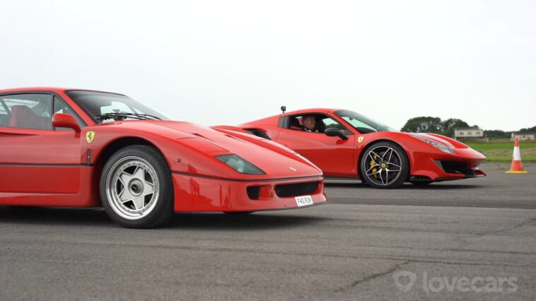 Ferrari 488 Pista vs F40 drag race