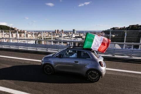 Nuova Fiat 500 Elettrica ponte San Giorgio Genova