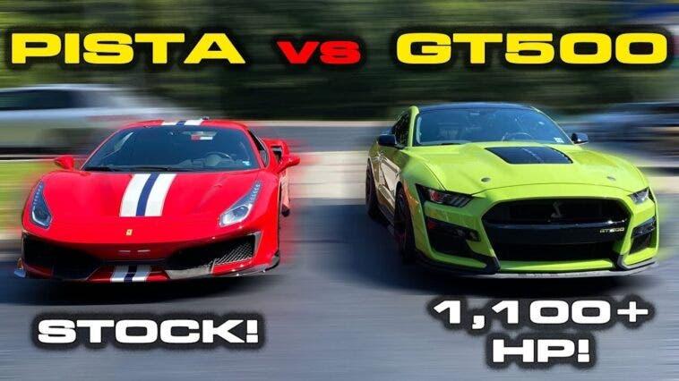 Ferrari 488 Pista vs Ford Mustang Shelby GT500 drag race