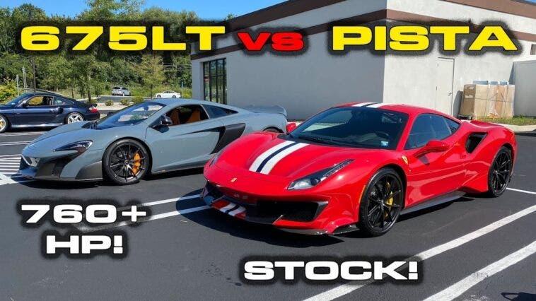 Ferrari 488 Pista vs McLaren 675LT drag race