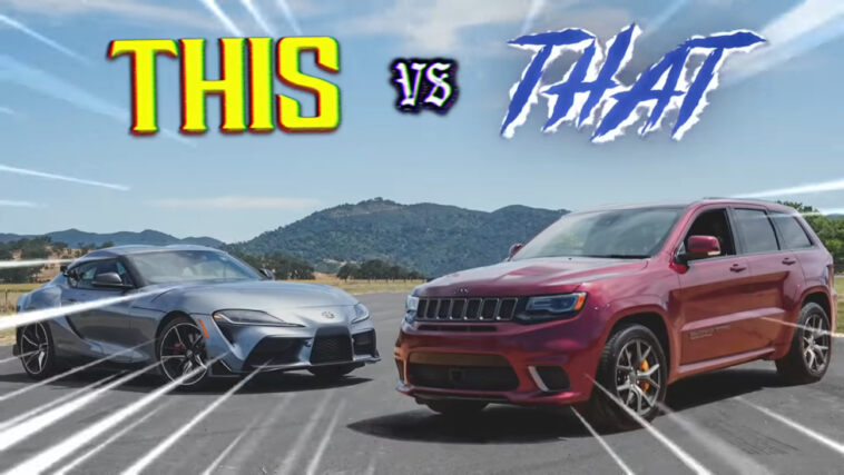 Jeep Grand Cherokee Trackhawk vs Toyota Supra drag race