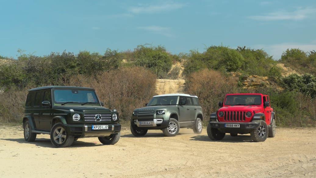 Jeep Wrangler vs Mercedes Classe G vs Land Rover Defender prova off-road