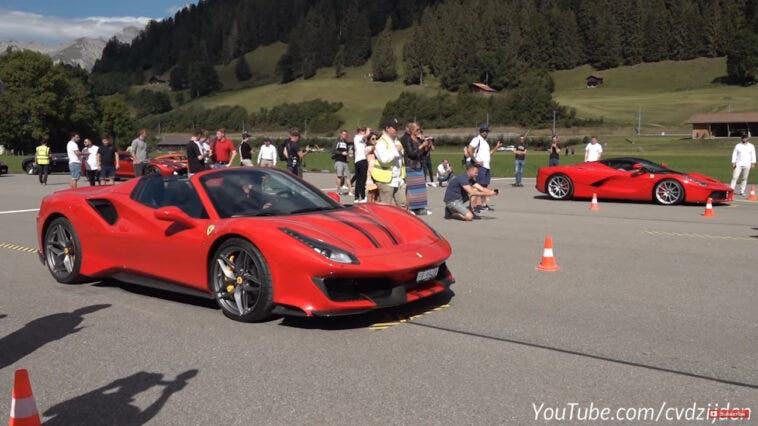LaFerrari vs Ferrari 488 Pista Spider drag race