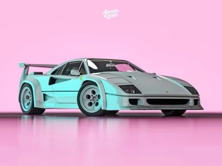 Ferrari F40 Lamborghini Countach render