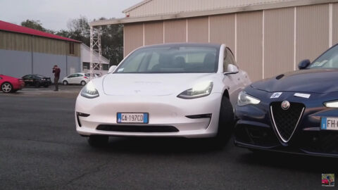 Alfa Romeo Giulia Quadrifoglio vs Tesla Model 3 drag race