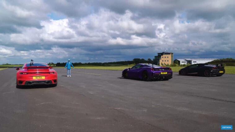 Ferrari 488 Pista vs Lamborghini Huracan Performante Spyder vs Porsche 911 Turbo S drag race
