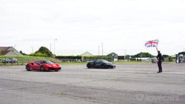 Ferrari 488 Pista vs McLaren 600LT drag race