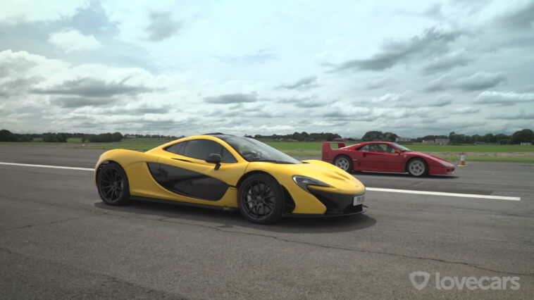 Ferrari F40 vs McLaren P1 drag race