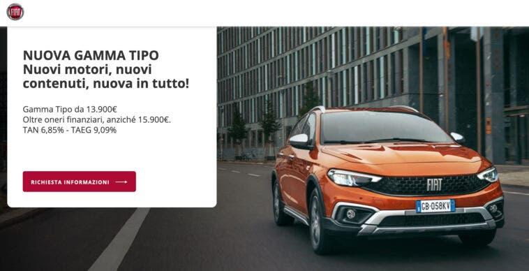 Promozione Fiat Tipo a 222 euro al mese