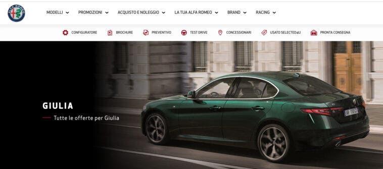 Promozione novembre 2020 Alfa Romeo Giulia con Furto e incendio