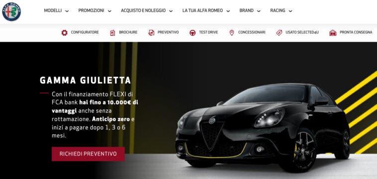 Promozione novembre 2020 Alfa Romeo Giulietta anticipo zero