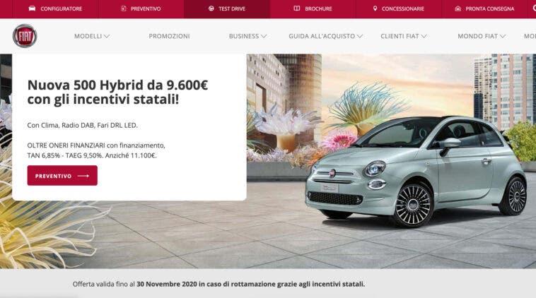 Promozione novembre 2020 Fiat 500 Hybrid a rate